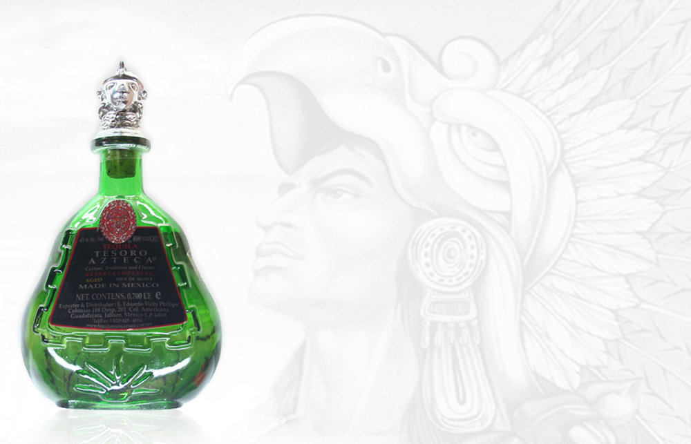 TESORO AZTECA NOM-1079  Tesoro Azteca Tequila is a treasure hunter's ultimate find. It is a unique, vintage tequila produced in the year 2000 at a small, artisanal distillery. This distillery located in Jesus Maria, was unconventional at the time, fermenting the agave juices together with the agave fiber, thus yielding a very prominent Los altos de Jalisco (Highlands) agave flavor. This distillery also produces Tequila Oro Azul.
