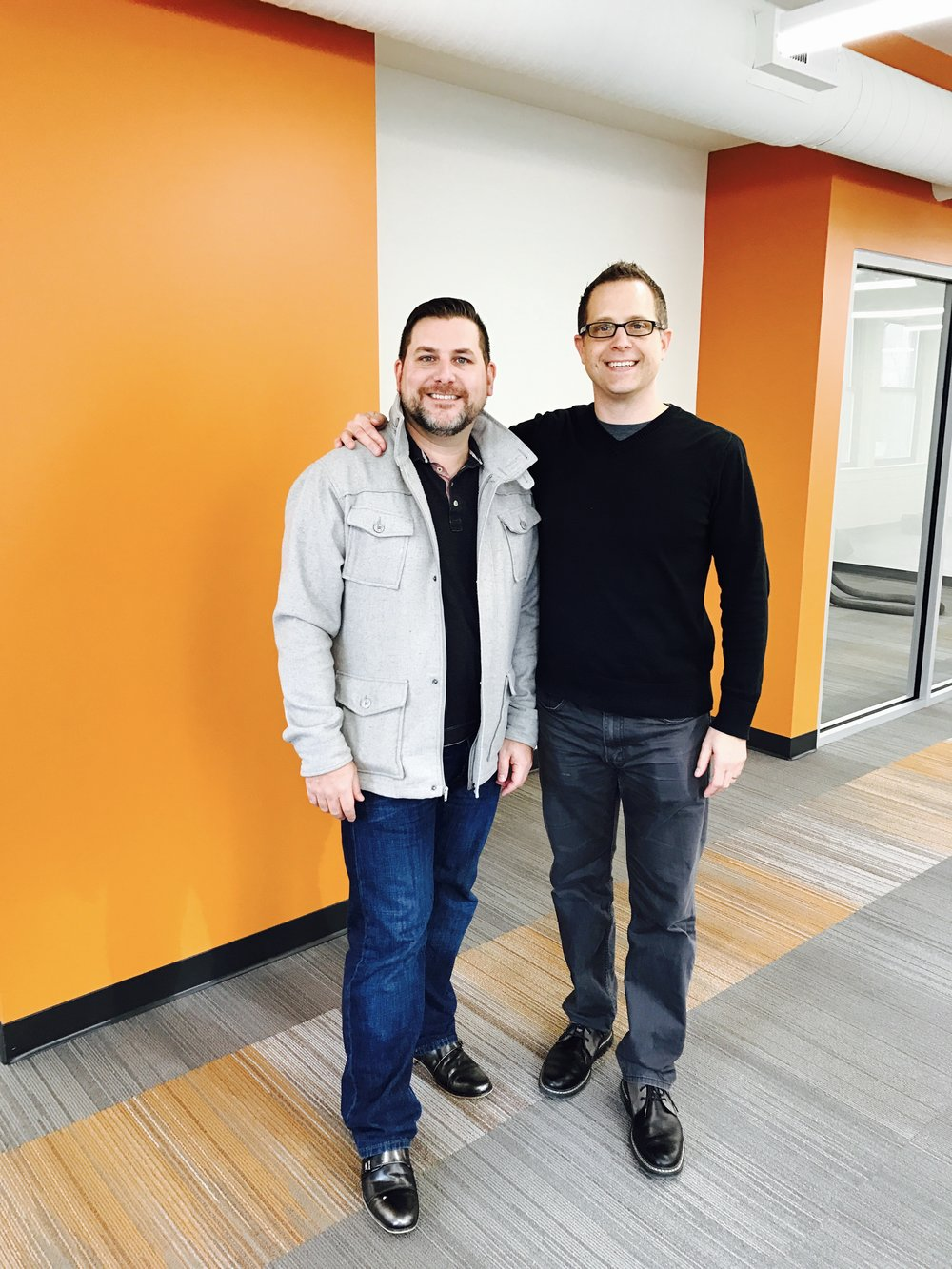 Rod and Todd enjoying the new office at 155 East Market Street in downtown Indianapolis