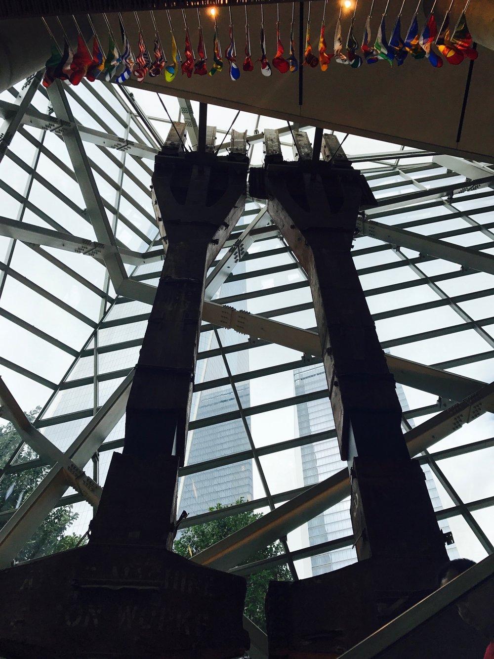 Ghosts of the original WTC as you enter the memorial