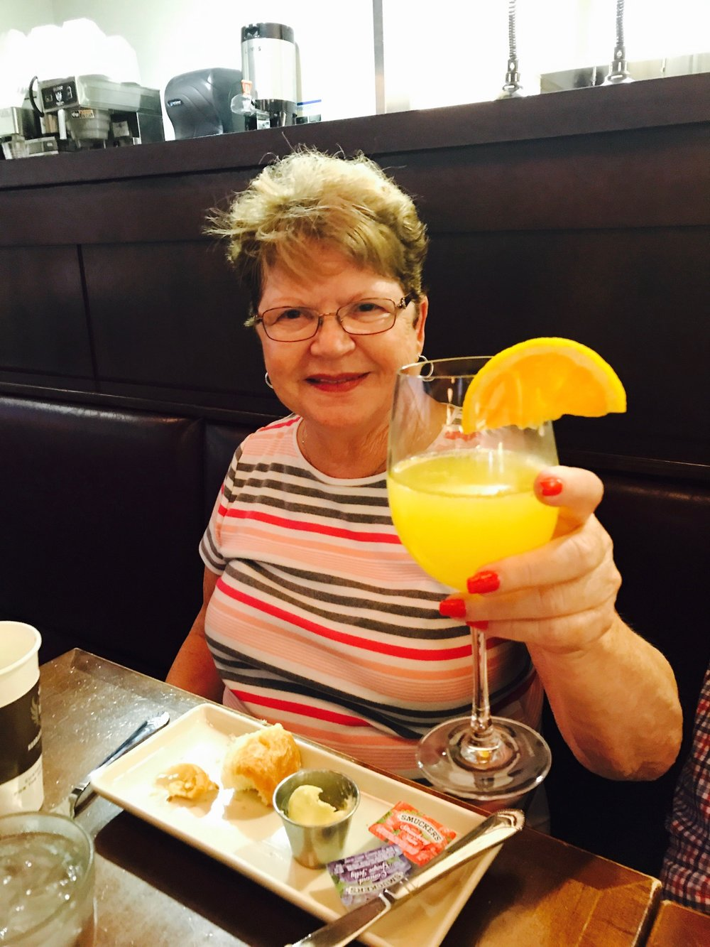 The early morning flight required several mimosas