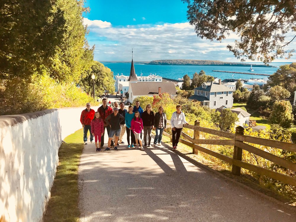 The Collier Crew on a hike on Mackinac Island