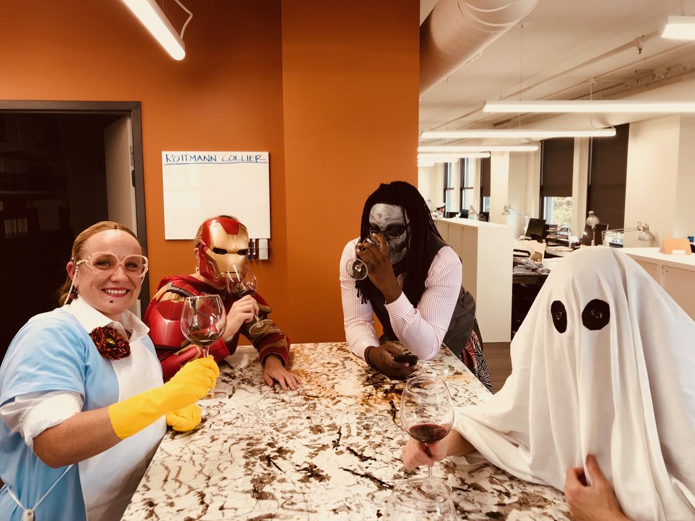 Lunch Lady, Iron Woman, Lourenzo, and a Ghost drinking wine