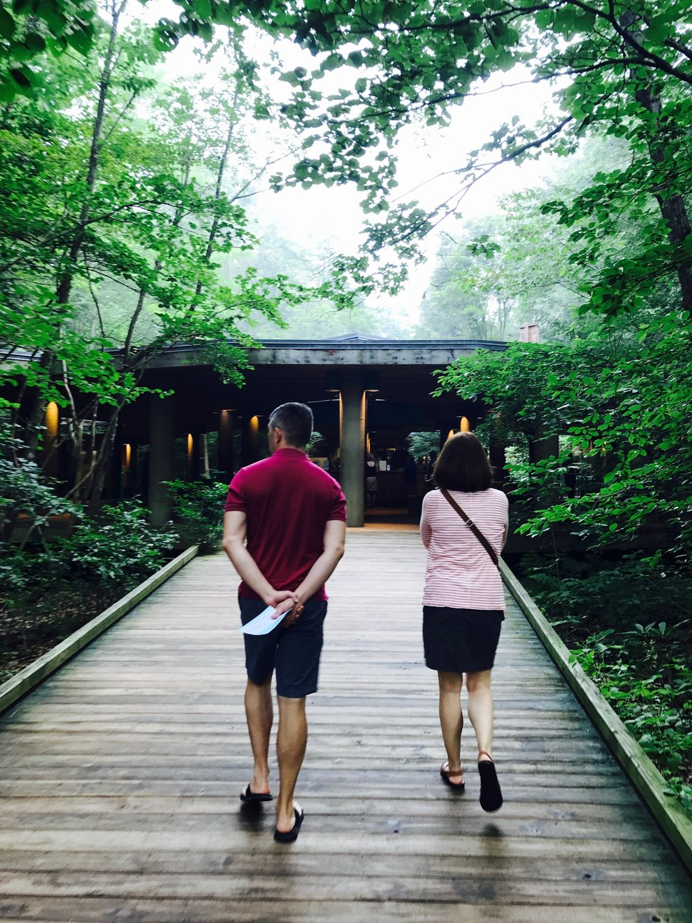 John and Susan entering Fallingwater
