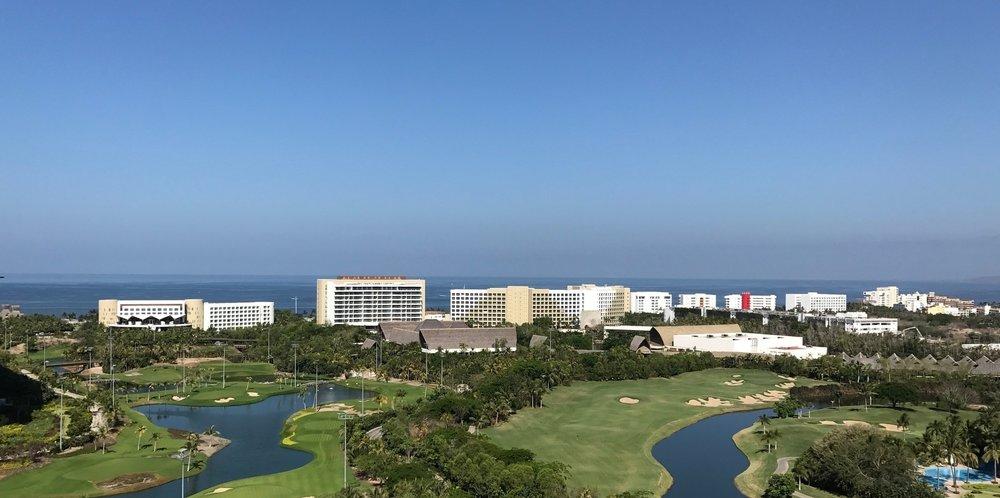 Overlooking the resort at Nuevo Vallarta from one of the restaurants
