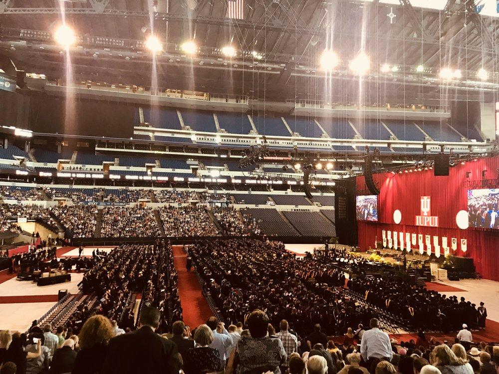 IUPUI graduation ceremony at Lucas Oil Stadium
