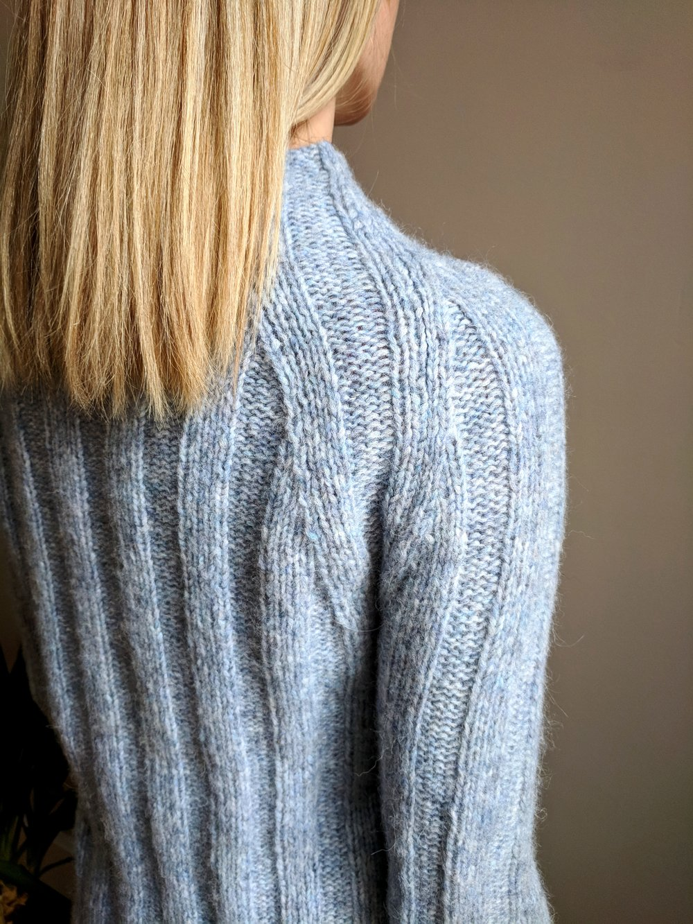 Spot the seam: Back detail from my Four Score sweater pattern.