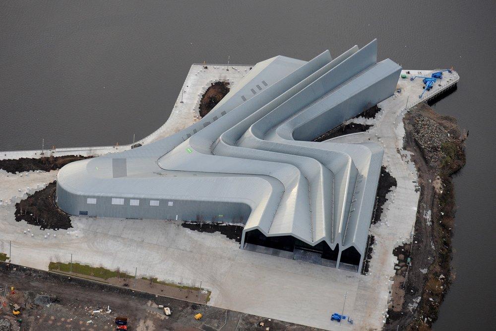 Zaha Hadid Architects - Glasgow Riverside Museum | © Hawkeye Aerial