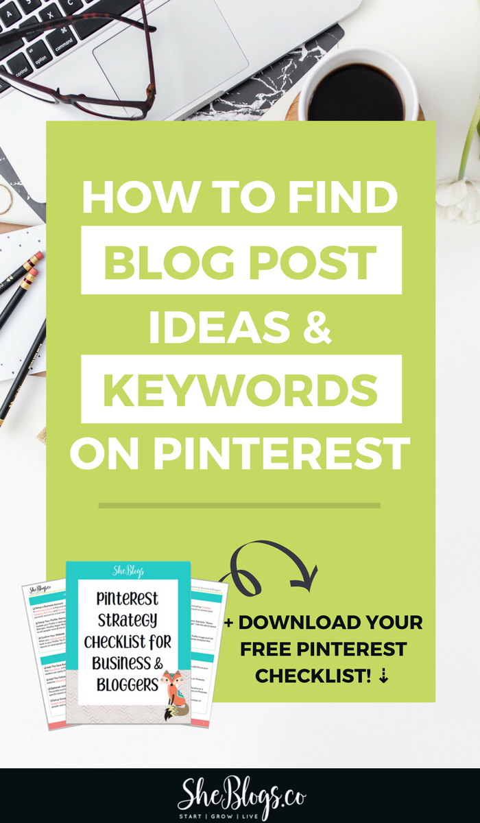How to find Blog Post Ideas on Pinterest. The techniques I use to: Discover blog post ideas, Create content my audience actually wants, Find keywords for my blog posts to help with SEO on Pinterest. #BlogPostIdeas, #PinterestMarketing, #BloggingTIps, #BloggingForBeginners
