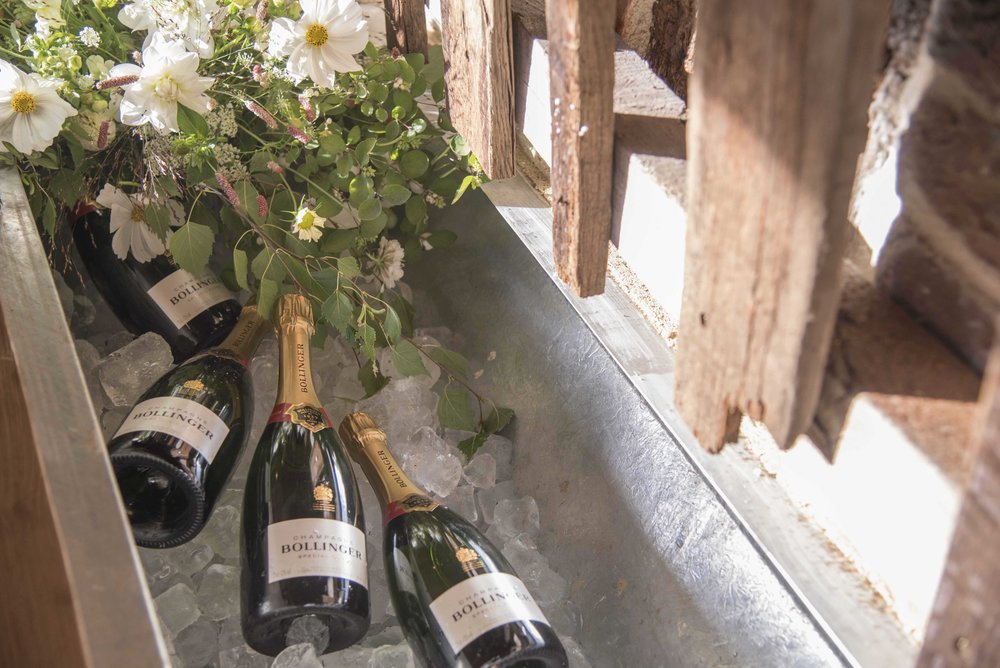 Bottles of wedding champagne and flowers on ice.jpg