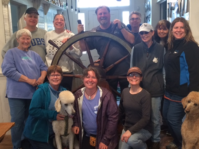 Happy nose work students (and Ernie) after learning new skills at the Barrier Islands Center, with instructor Tony Gravley.