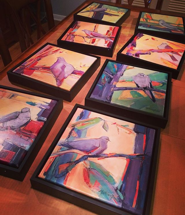 Eight new dove paintings are finished, varnished, framed, wired, labeled, and ready to go to @jrbgallery @paseoartsdistrict. Look for them at the #gallery starting Friday! - MathewsGordon.com