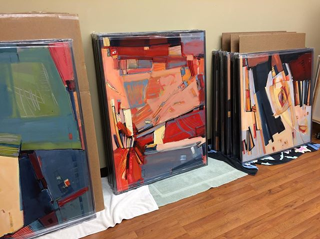 "Getting excited!  The stars of the #show, my new large #paintings, are back from the #framers (Dale Rogers/Wyman's did a #beautiful job!) and waiting to be delivered. ""Divided."" opens with a #reception during first Friday #art walk on April 6 from 6 to 10p at the beautiful #gallery @jrbgallery  at @paseoartsdistrict. There's lots to see. Please stop by and take a look!"
