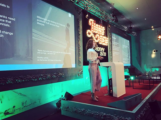 @sarakoslinska was pitching at @money20_20 earlier today in front of a full house 👌💪 #money2020europe #money2020 #fintech #startup #event #conference #millennials #money