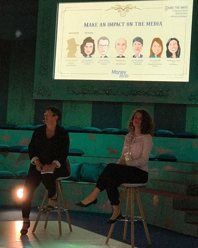 @sarakoslinska on stage with @joymacknight at @Money2020 talking about making an impact on the media. #pr #money2020 #money2020europe #conference #femaleentrepreneur #fintech #startup