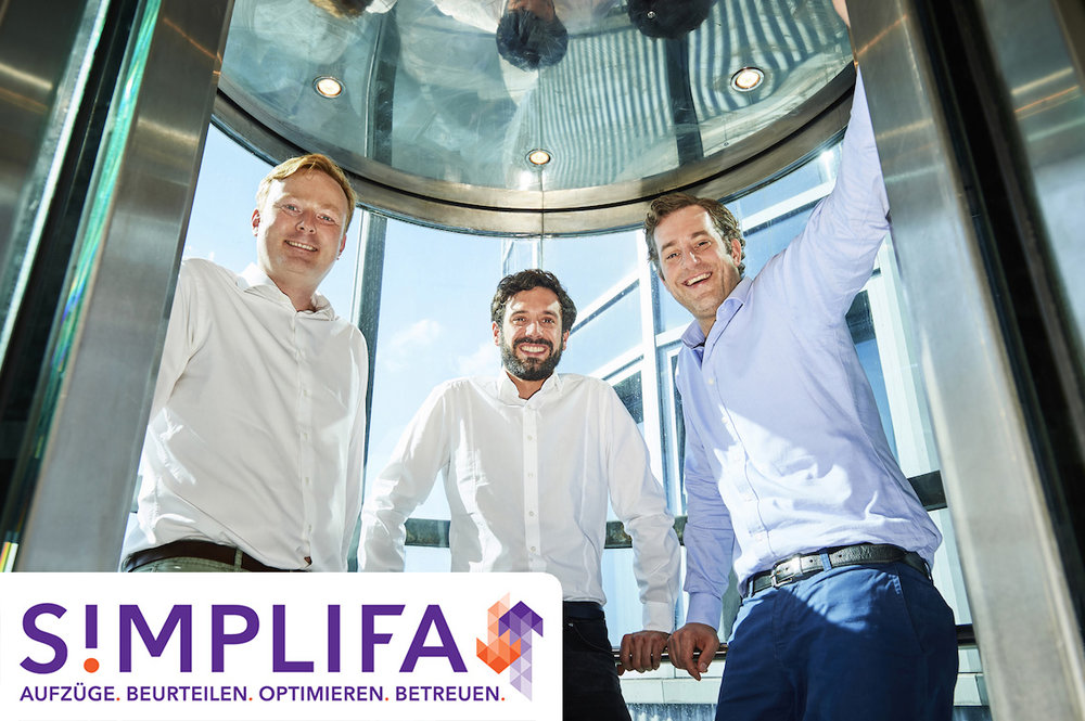 Simplifa - Der digitale Property Manager für Aufzüge - Hubertus von Schierstaedt, Geschäftsführer & GründerJannis Wunderle, Leiter DigitalisierungLudwig von Busse, Geschäftsführer & Gründer