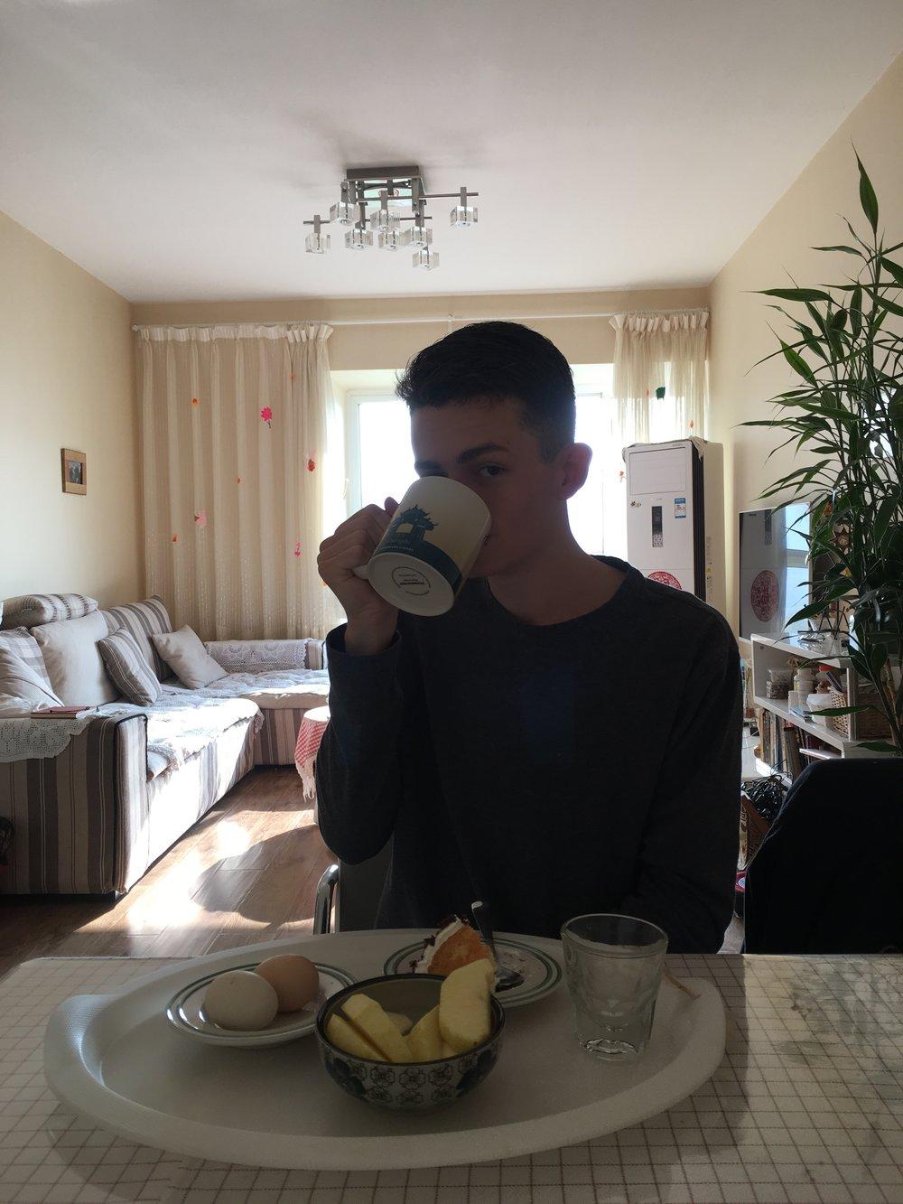 Enjoying breakfast at a friend's house!