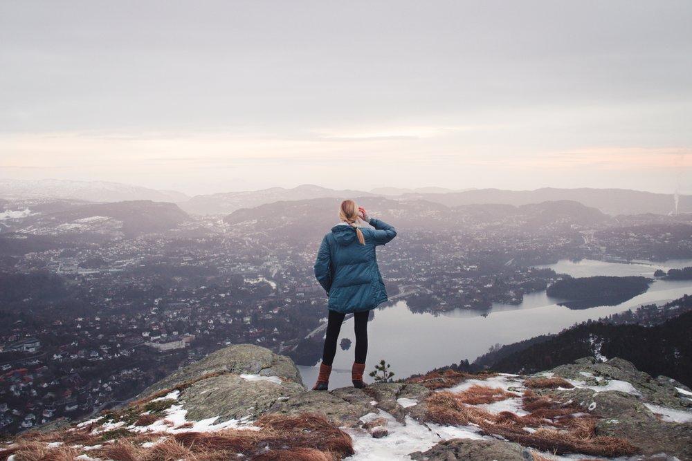 Woman - Mountain Top View