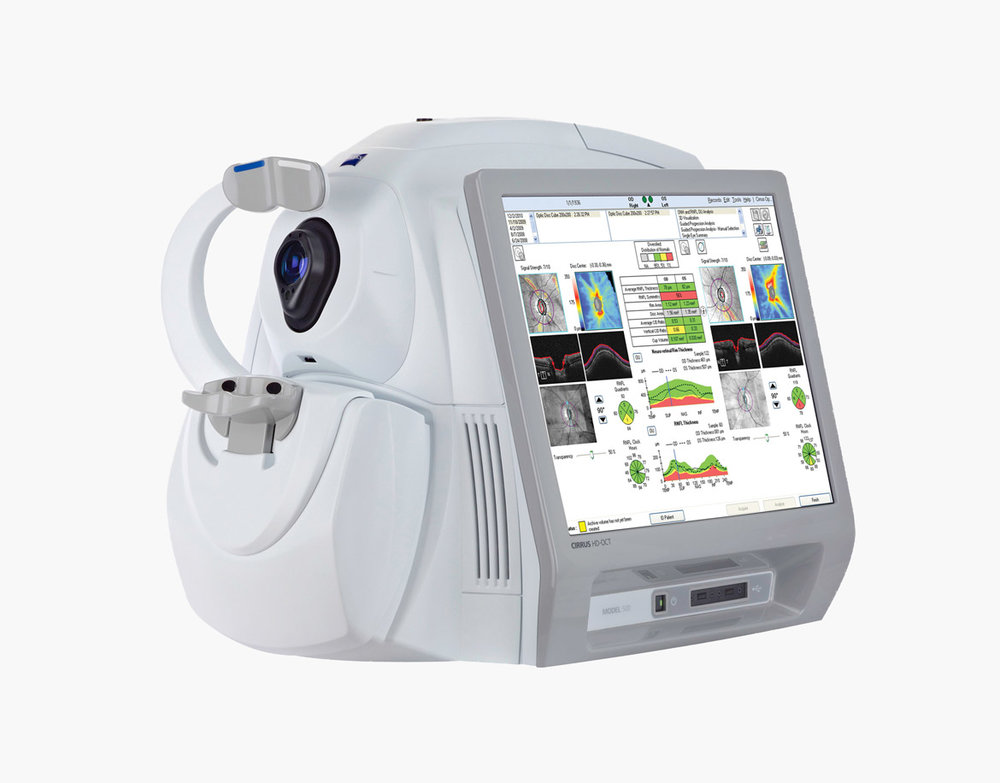 Cirrus HD-OCT - El Reno Family Eyecare has acquired the latest in OCT (Optical Coherence Tomography) Technology. The Cirrus OCT is a high definition retinal scanning instrument which is becoming the industry standard for retinal disease diagnosis, management and treatment. The OCT technology has elevated our level of care by providing cross-sectional views of the retinal nerve fiber layer, macula, optic nerve and even the anterior segment of the eye. The new Guided Progression Analysis compares measurements over time and determines if any statistically significant changes have occurred, which means earlier diagnosis and treatment.The OCT is the most valuable instrument used in managing glaucoma, macular degeneration and diabetic retinopathy.