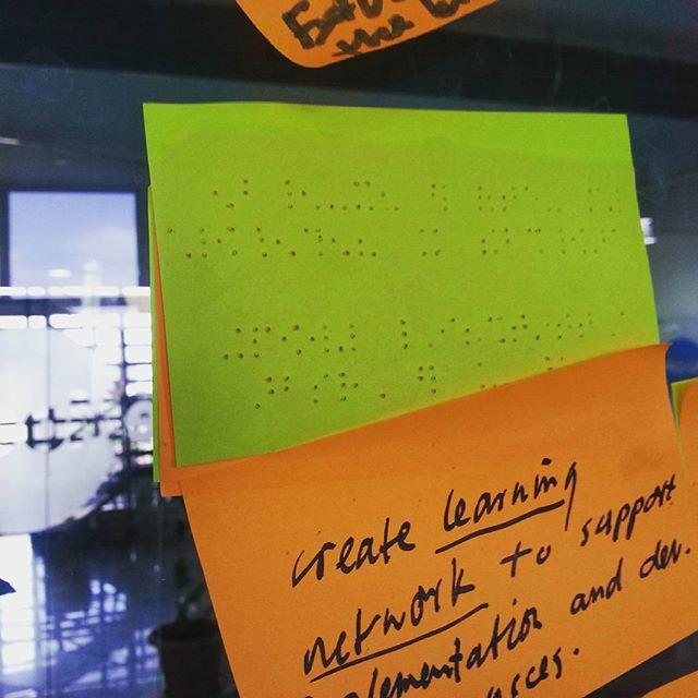 Inclusive brainstorming.... #braille #postitnote