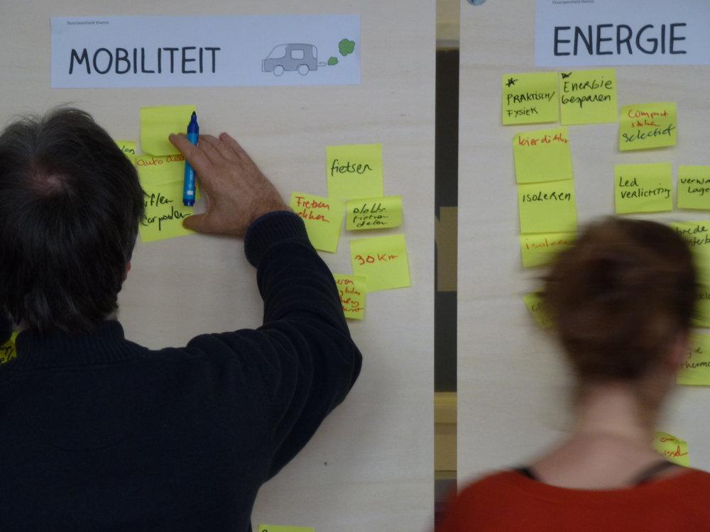co-creatieve sessie met de buurt voor verschillende duurzame thema's