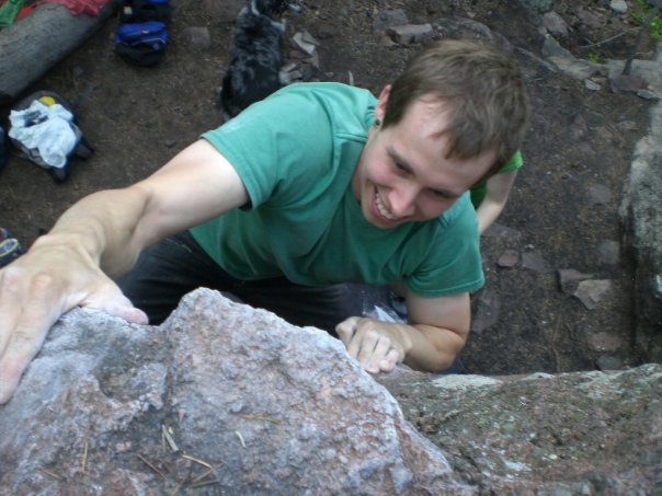Steve's first time bouldering outside in 2009 at the Satellites.