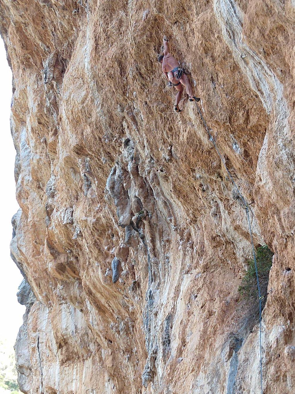 Vince climbing in Mallorca