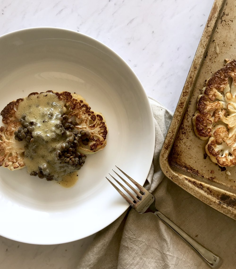 Cauliflower Steaks with Lentils and Mustard Vinaigrette