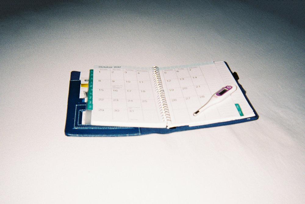 Monthly Countdown     Calendars and basal thermometers become a major part of an individual or couple's life when they are struggling with infertility.      Cuenta regresiva mensual   Calendarios y termómetros basales se convierten en una parte clave de la vida de un individuo o de una pareja que lucha con la infertilidad.