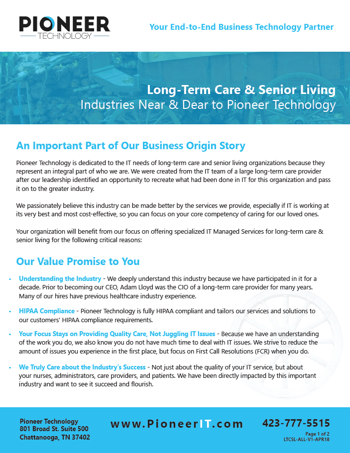 Pioneer Technology supports Long Term Care and Senior Living