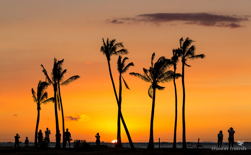 This was taken on the Big Island of Hawaii, so you'll have to imagine the scene with more palm trees and less people.