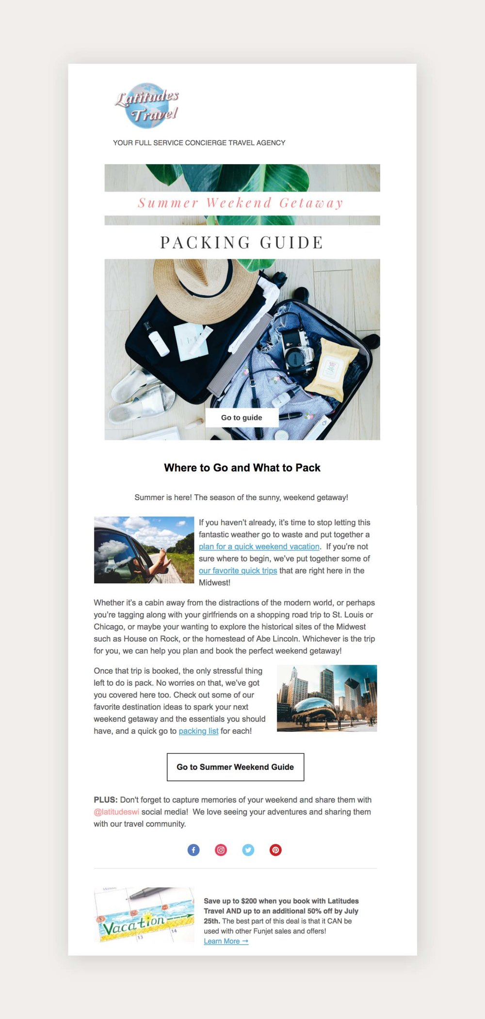 Latitude's Travel  Email Campaign Design