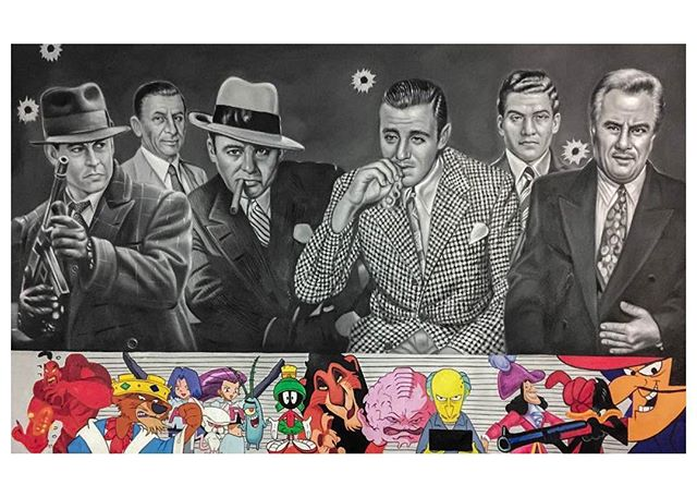 Gangster Squad on the shoulders of giants. The original OGs. Who else should be on this list?  #MixedMedia  #WorldOfArtists #Art_spotlight #ArtOfTheDay #Art_Collective #WIP  #Gallery #Instaart #Artist #Artwork #artstudio #artprocess #customart #creativeprocess #artfinder  #Spraypaint  #WallArt #RichieRich #PopArt #StreetArt #ModernArt #MiamiArt #ArtofTheDay #popart #cartoon #Monopolyguy going to @lifted_head_supply