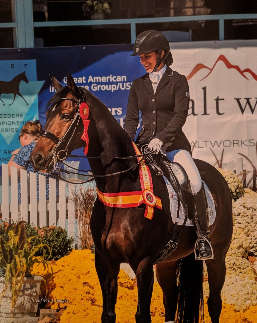 Maia and her Benvica in the Dixon Oval at Dressage at Devon