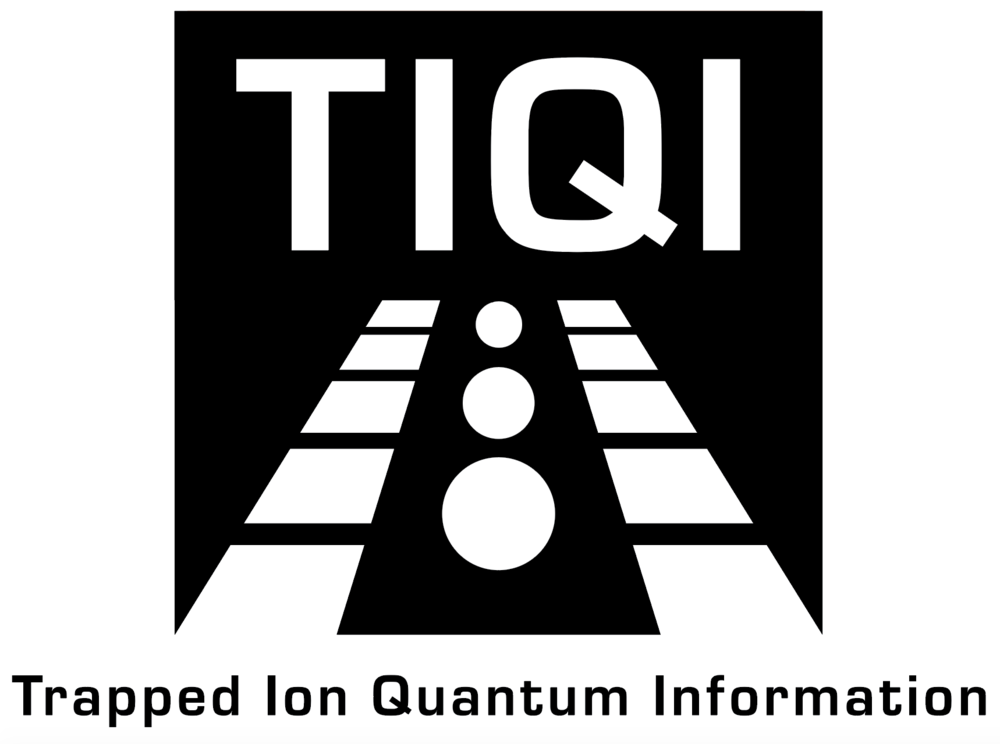 Logo created for a physics laboratory at University of Maryland. The image shows a simplified ion trap while also alluding to the idea of moving forward with linear perspective.