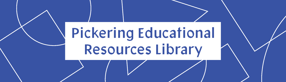A bookmark for the Pickering Educational Resources Library at Boston University. Simple shapes and a limited color palette emphasize the rudimentary and developmental building blocks that are important in all aspects of education.