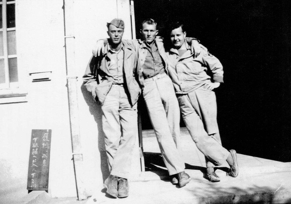William (center) with Marine buddies in Miyazaki, Japan, 1945.