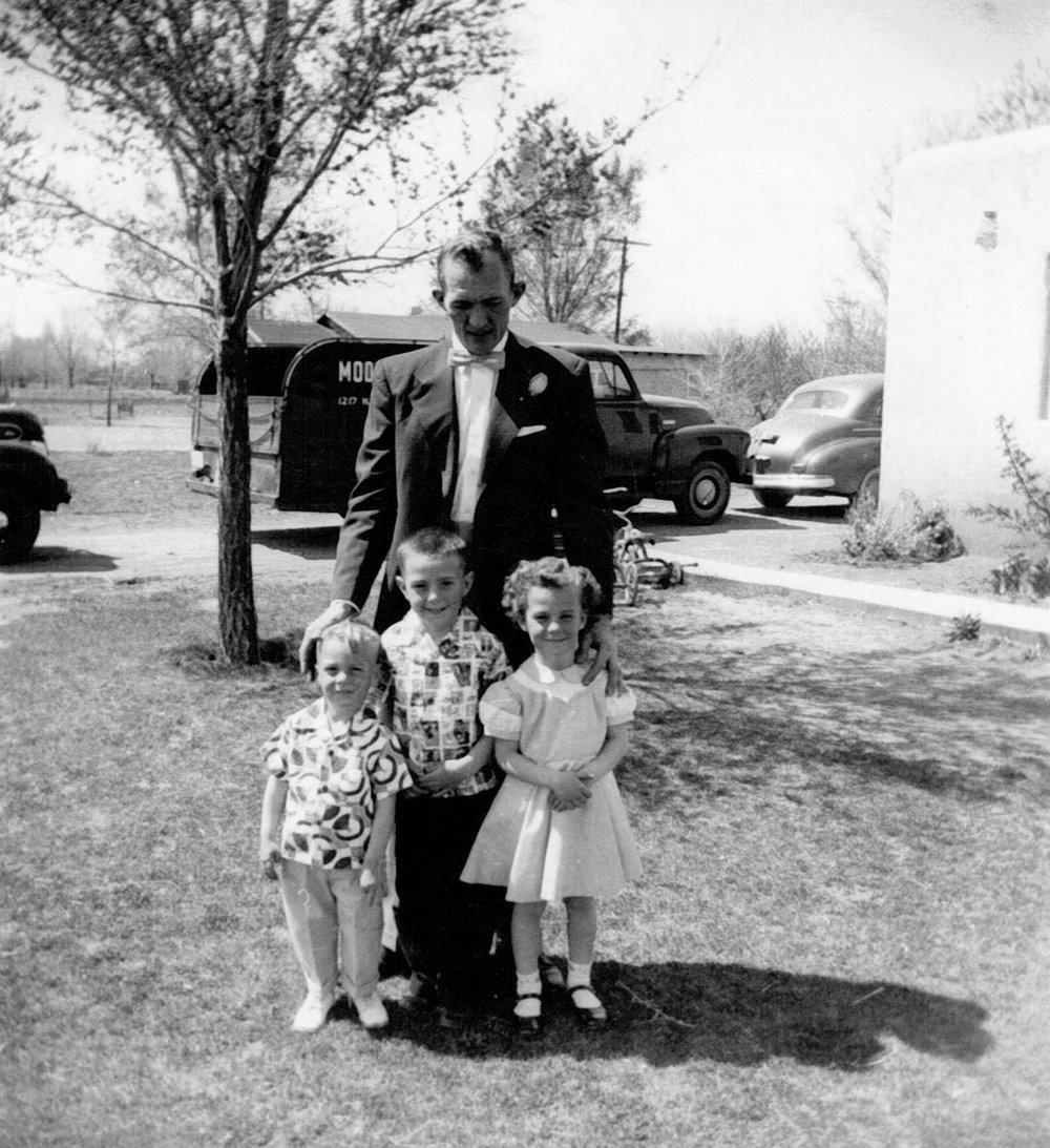 The newly extended family in Albuquerque, circa 1950. William with Jerry, Willie, and Dorothea.