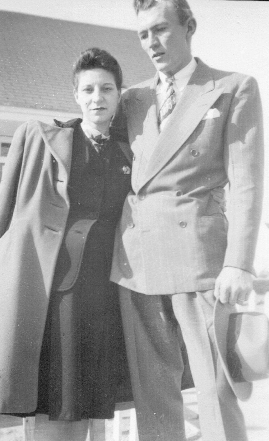 William and his wife departing on their honeymoon, August 1946.