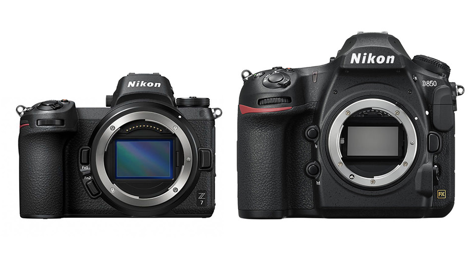 Nikon Z7 vs D850 Size comparison