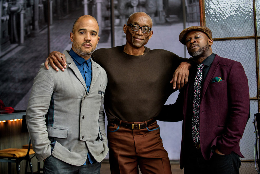 From left: Daniel Bernard Roumain (composer), Bill T. Jones (director), Marc Bamuthi Joseph (librettist)
