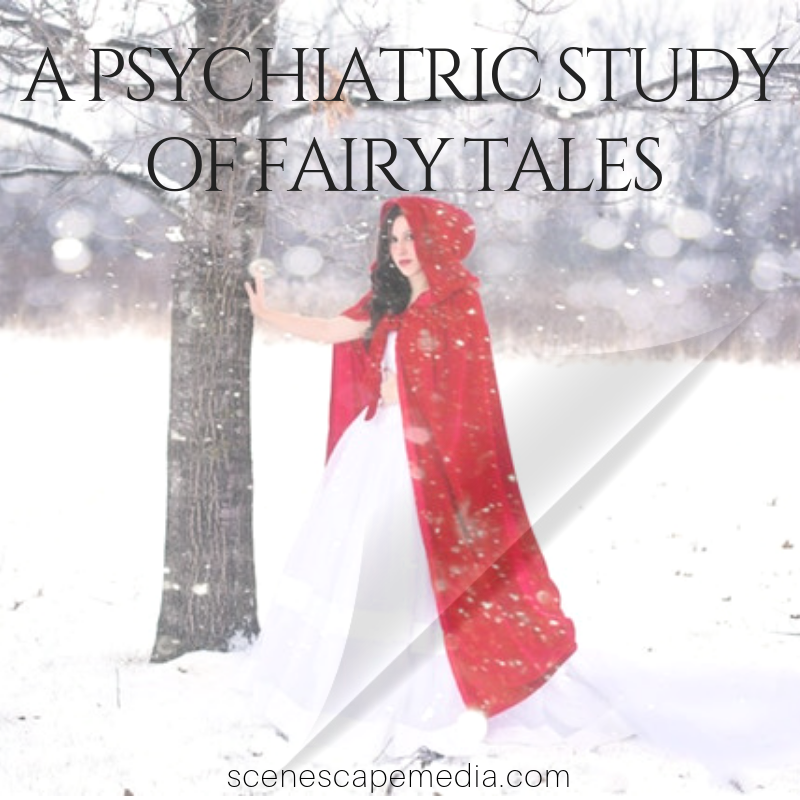A Psychiatric Study of Fairy Tales book review and discussion, thumbnail pictures girl in a red hood and cape standing in the snow.