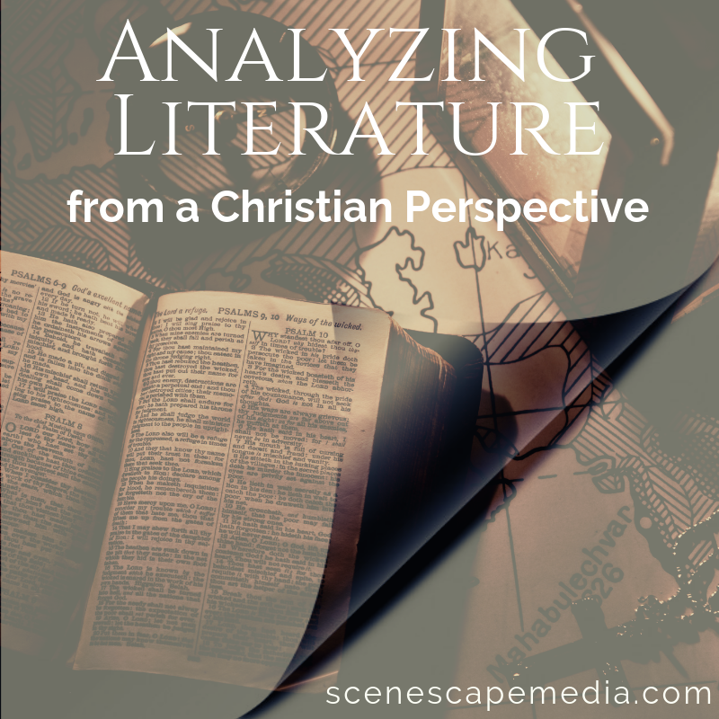 graphic image thumbnail, analyzing literature from a christian perspective, a book on a desk with a pair of glasses