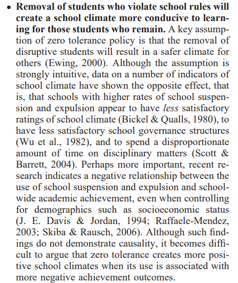 From  Are Zero Tolerance Policies Effective in the Schools? An Evidentiary Review and Recommendations by the American Psychological Association Zero Tolerance Task Force (click image to read entire report)