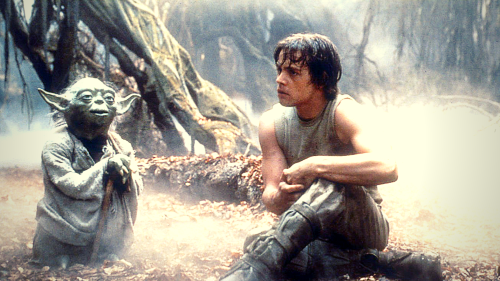 Famous movie mentors: Yoda and his student Luke Skywalker from  Star Wars