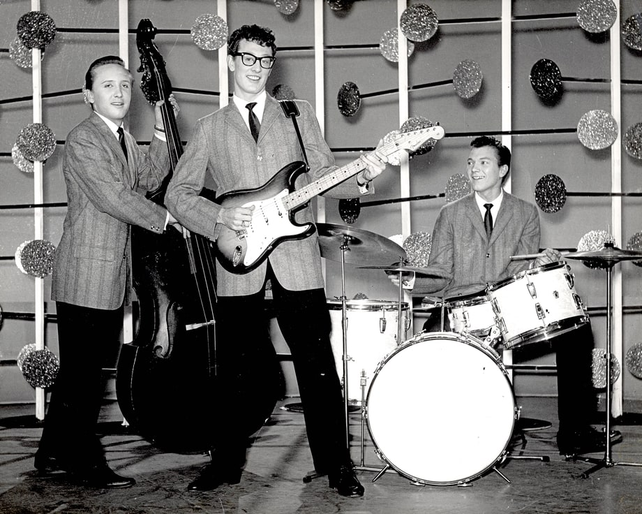 a07019b436 Buddy Holly performing with fellow Crickets band members  bassist Joe B.  Mauldin and drummer
