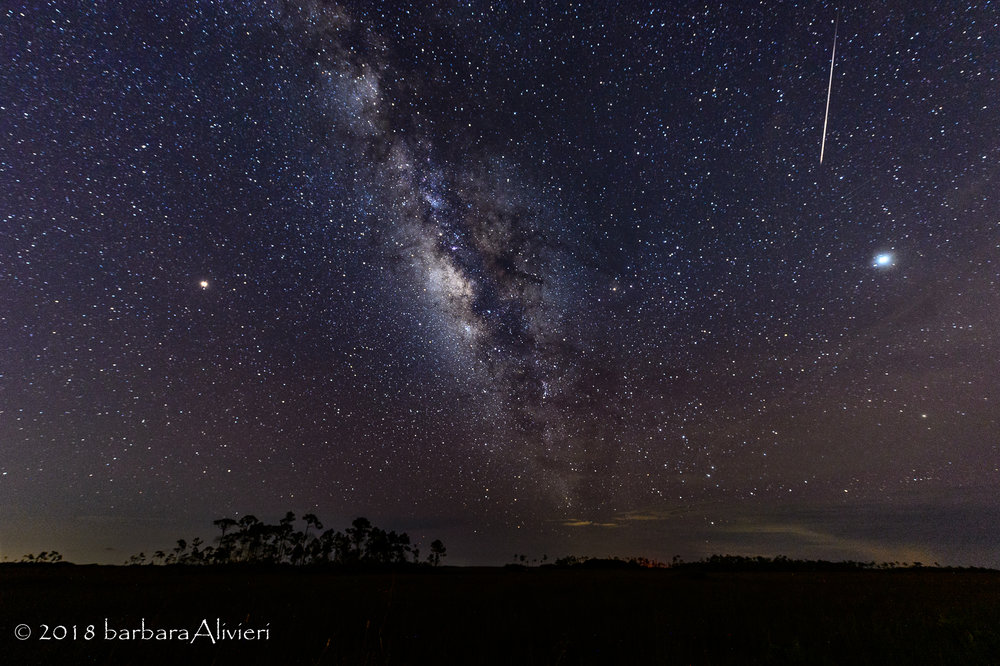 L to R Mars, Milky Way (incl Saturn) a meteor, and then Jupiter! All we needed was Venus to make this a party.