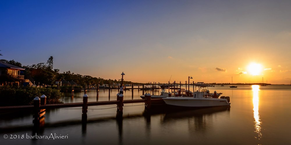 About 15 minutes before sunset, docks.
