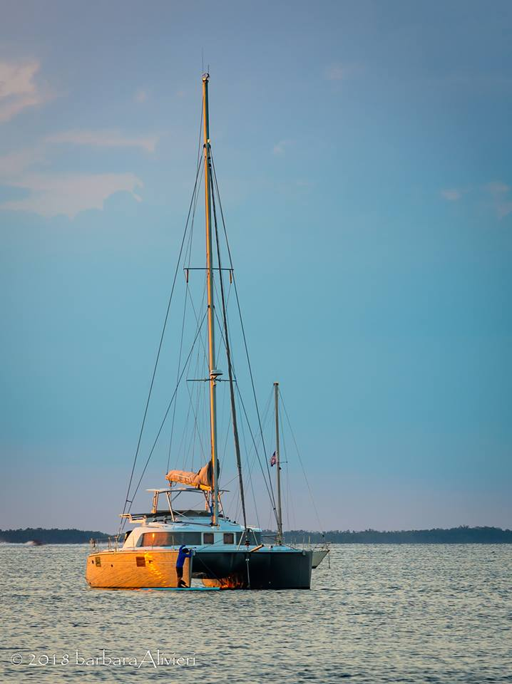 Sun reflecting on the side of the catamaran.