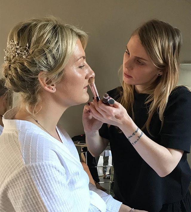 Yesterday we got to be part of @nskelt beautiful day at @yorkshireweddingbarn. Our talented artist @alana__gee giving the bride beautiful glowing skin 💁♀️ . . . . . #weddingday #glowingskin #bridalbeauty #bridetobe #bridalparty #bridesmaids #bridalmakeup #unitedkingdom #makeupartist #kalonartists