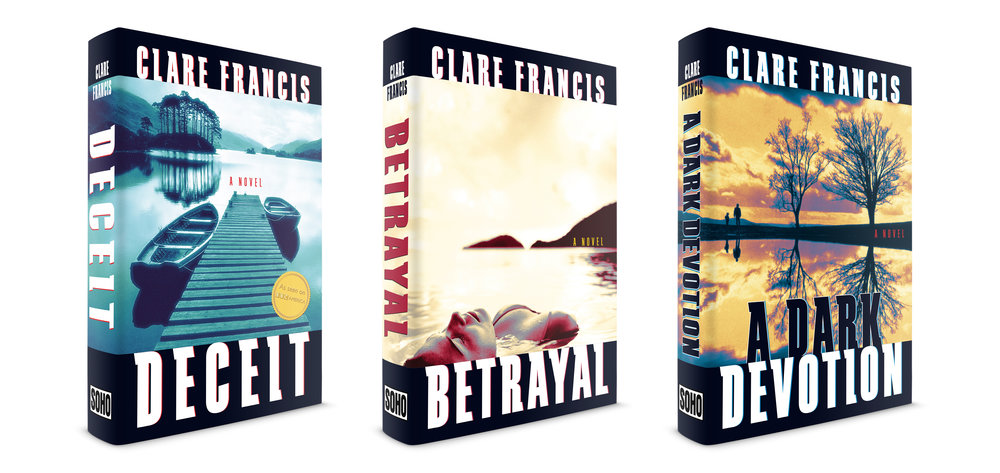 Deceit, Betrayal, A Dark Devotion. Novels by British author Clare Francis. Published by Soho Press. Occasionally I will be asked to design a series of books by one author. This trio of murder and mayhem thrillers was a fun series to complete. Having formerly been a yachtswoman and single-handedly sailing across the Atlantic Ocean, this author's books tend to have ships, boats and watery deaths in them. I made a template for the books using a distinct slab typeface called Schindler and created high-hued quadtones for the images, giving each a unique color palette.